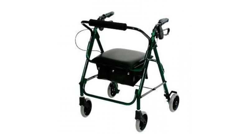 Low seat lightweight rollator green
